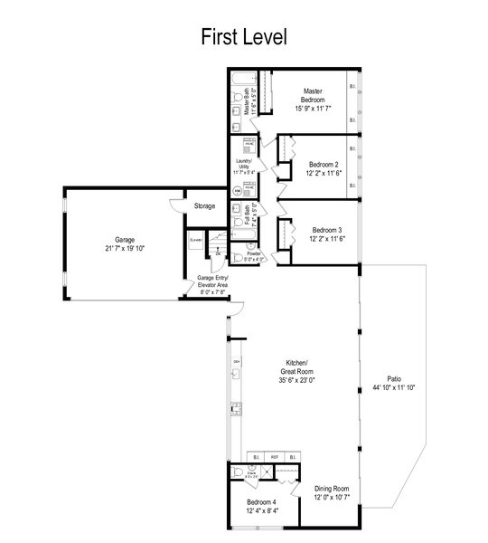 Real Estate Photography - 1985 McCraren Rd, Highland Park, IL, 60035 - Floor Plan - Main Level