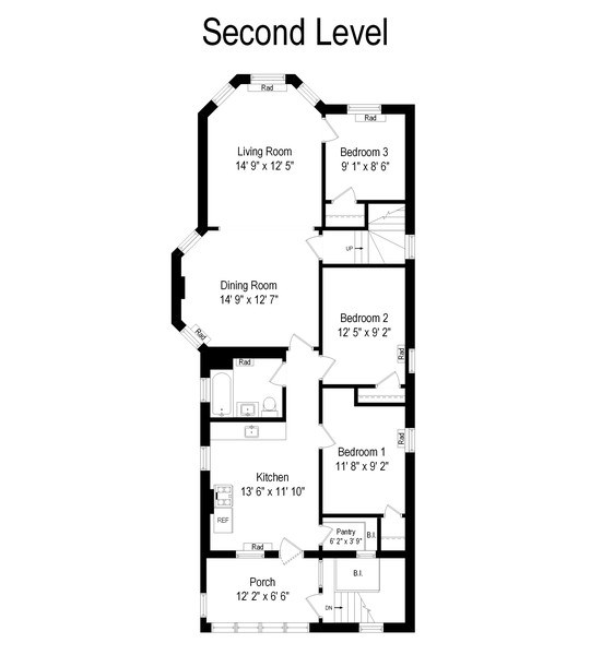 Real Estate Photography - 2212 W. Addison Street, Chicago, IL, 60618 - Floor Plan