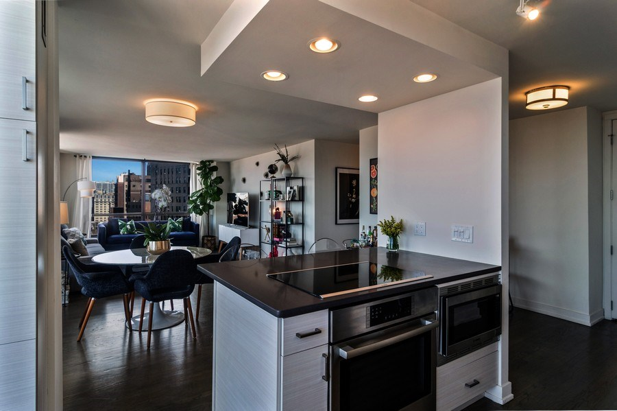 Real Estate Photography - 2020 N Lincoln Park West, Unit 14A, Chicago, IL, 60614 - Kitchen / Living Room