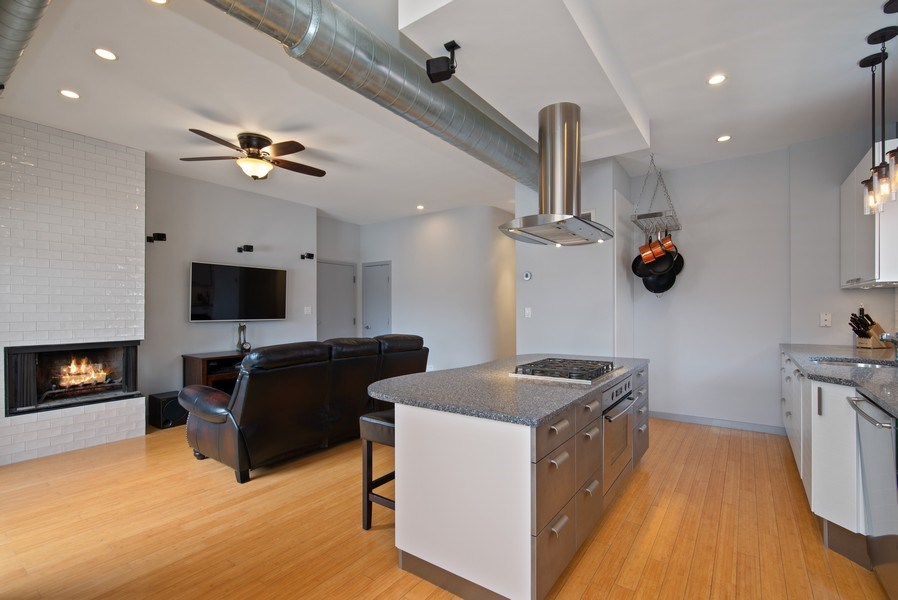 Real Estate Photography - 2136 W. Evergreen Ave., Unit 2B, Chicago, IL, 60622 - Kitchen / Living Room