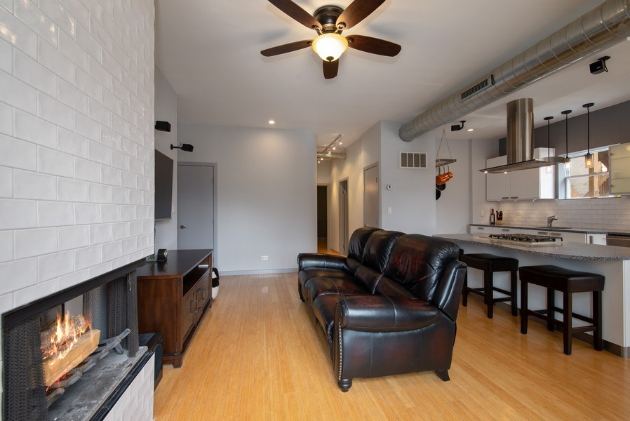 Real Estate Photography - 2136 W. Evergreen Ave., Unit 2B, Chicago, IL, 60622 - Kitchen/Living