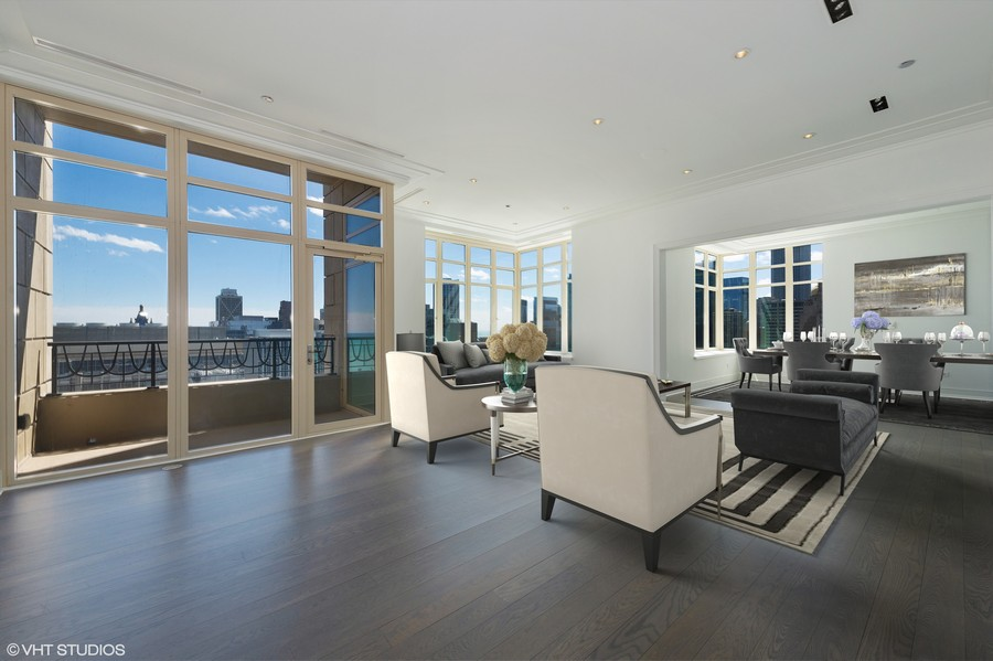 Real Estate Photography - 118 East Erie, 36F, Chicago, IL, 60611 - Living Room / terrace