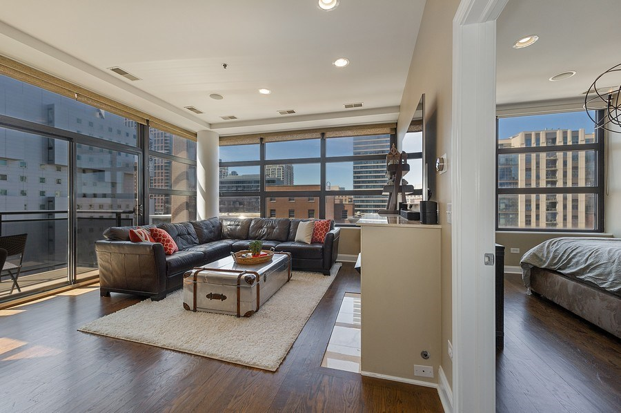 Real Estate Photography - 101 W Superior, Unit 906, Chicago, IL, 60654 - Living Room