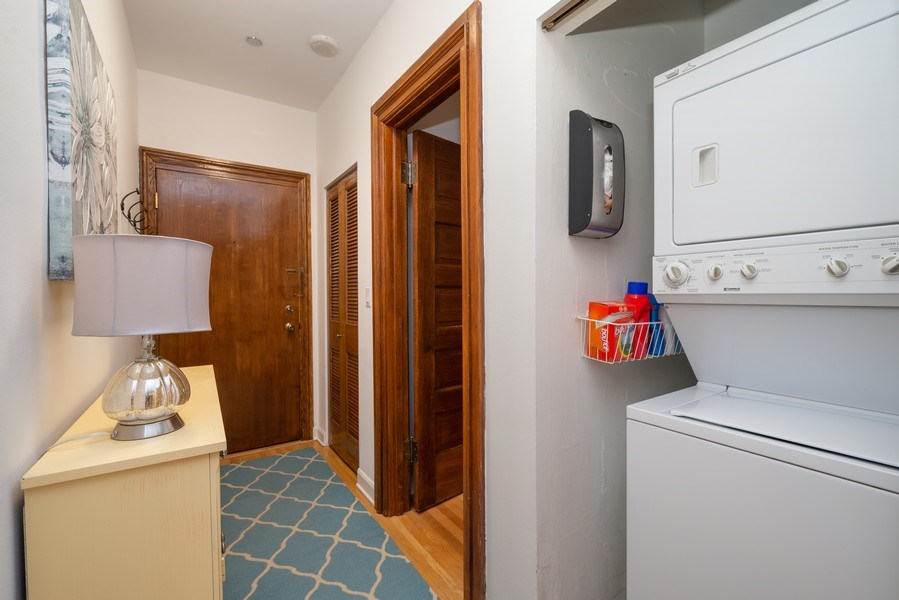 Real Estate Photography - 550 W Surf St, Unit 519, Chicago, IL, 60657 - Laundry Room