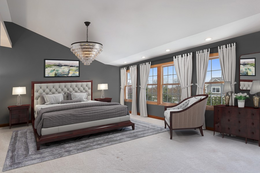 Real Estate Photography - 1650 Primrose Ln, Glenview, IL, 60026 - Virtually Staged Master Bedroom