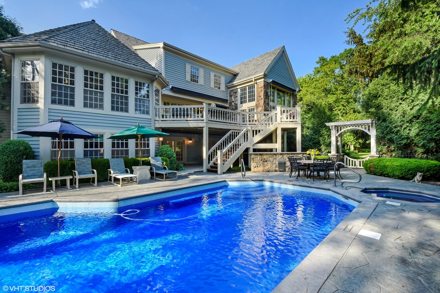 Real Estate Photography - 7 S Wynstone Dr, North Barrington, IL, 60010 - Rear View/Pool
