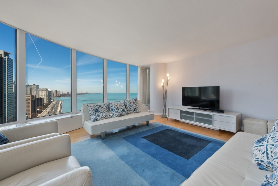 Real Estate Photography - 505 N. Lake Shore Drive, #2511, Chicago, IL, 60611 - Living Room