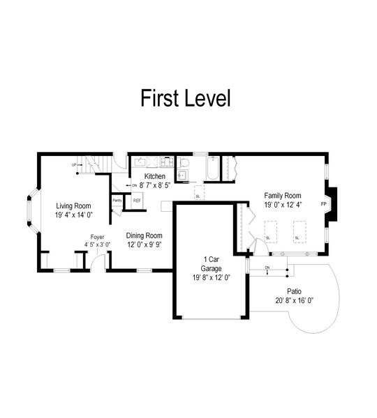 Real Estate Photography - 745 S. Mitchell Ave., Arlington Heights, IL, 60005 - First Floor Plan