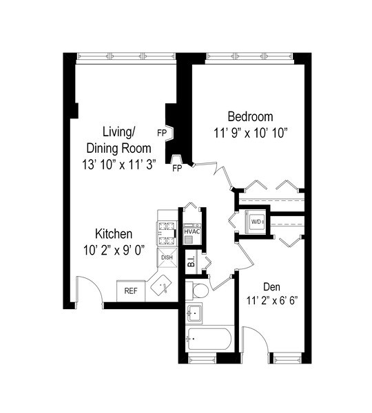 Real Estate Photography - 1344 West Irving Park Rd, 2N, Chicago, IL, 60613 - Floor Plan