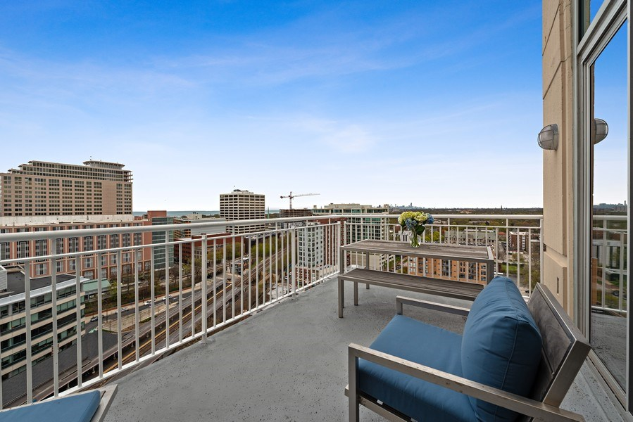 Real Estate Photography - 1640 Maple Avenue, Unit 1606, Evanston, IL, 60201 - Eastern Facing Balcony