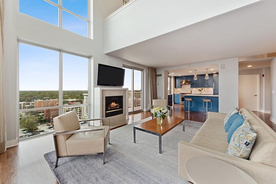 Real Estate Photography - 1640 Maple Avenue, Unit 1606, Evanston, IL, 60201 - Kitchen / Living Room