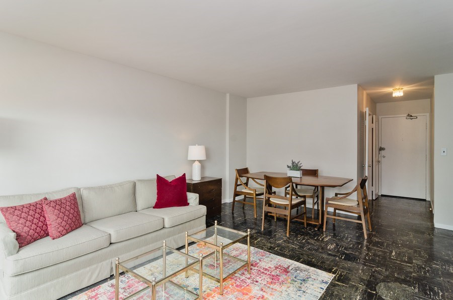 Real Estate Photography - 3100 N Lake Shore Dr, 902, Chicago, IL, 60657 - Living Room / Dining Room