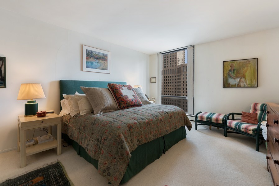 Real Estate Photography - 100 E Bellevue, 22C, Chicago, IL, 60611 - Master Bedroom