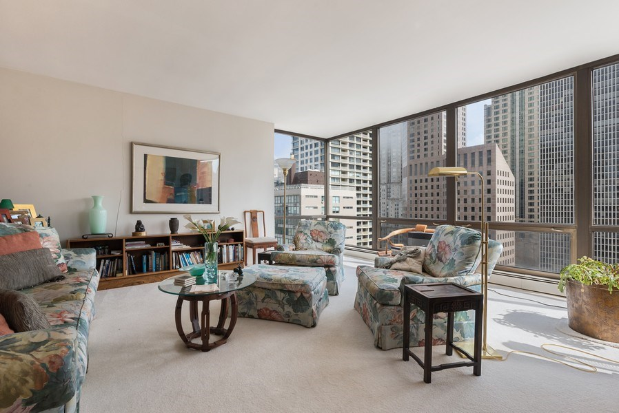 Real Estate Photography - 100 E Bellevue, 22C, Chicago, IL, 60611 - Living Room
