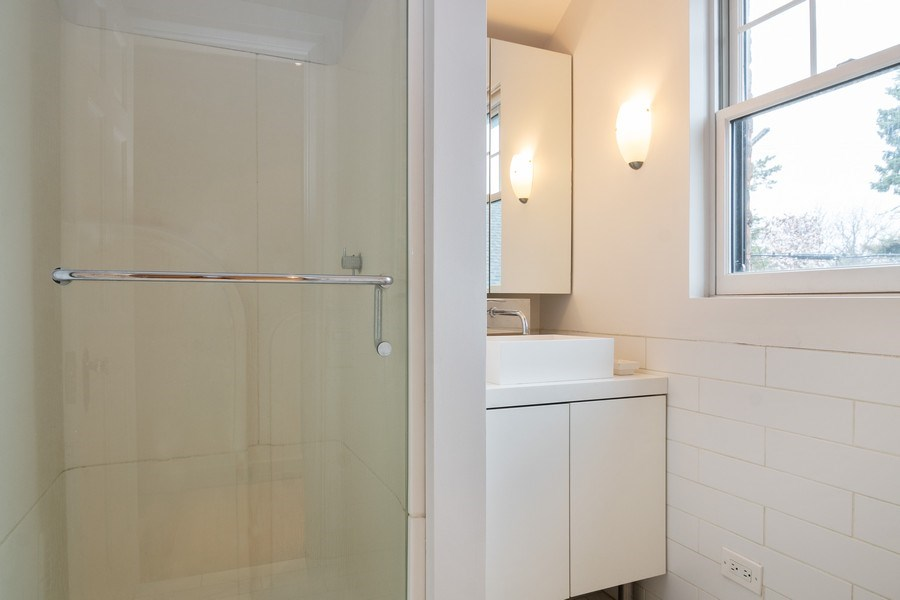 Real Estate Photography - 6348 W. Hyacinth St., Chicago, IL, 60646 - Upstairs Bathroom