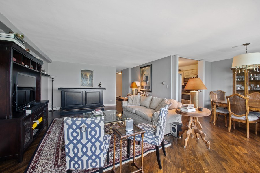 Real Estate Photography - 1440 Lake Shore Drive, 14A, Chicago, IL, 60610 - Living Room / Dining Room