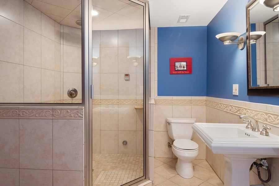 Real Estate Photography - 215 Cold Spring Rd, Barrington, IL, 60010 - Basement Full Bath