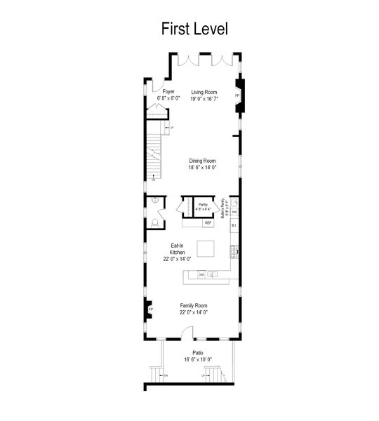 Real Estate Photography - 1834 W. Larchmont, Chicago, IL, 60613 - Floor Plan