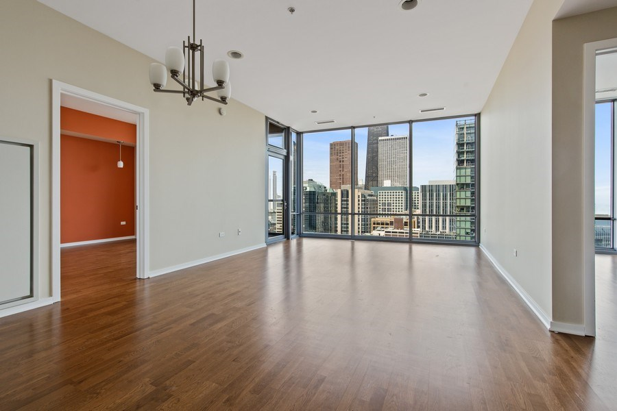 Real Estate Photography - 240 E. Illinois Street, Unit #2704, Chicago, IL, 60611 - Living Room / Dining Room
