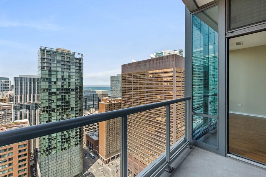Real Estate Photography - 240 E. Illinois Street, Unit #2704, Chicago, IL, 60611 - Unit Balcony with Lake Michigan Views