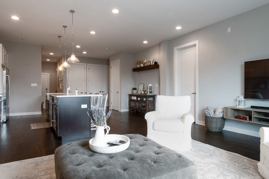 Real Estate Photography - 2550 W Fullerton Ave Unit 2D, Chicago, IL, 60647 - Kitchen/Living