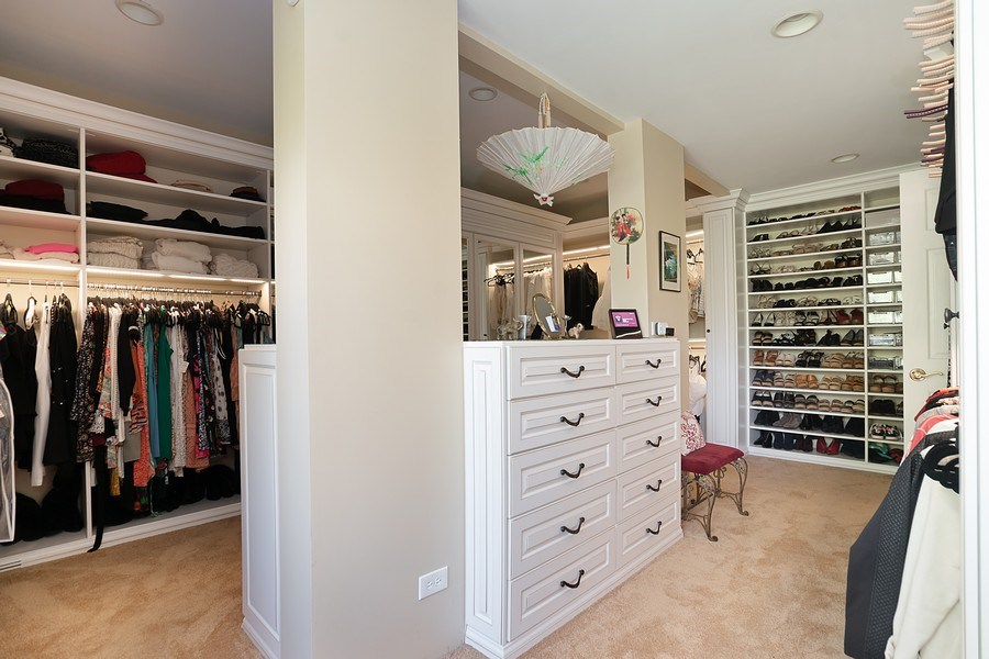 Real Estate Photography - 1390 Kathryn Ln, Lake Forest, IL, 60045 - Master Closet