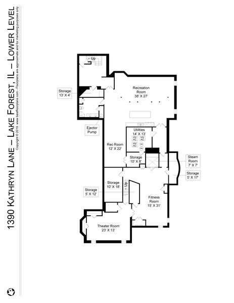 Real Estate Photography - 1390 Kathryn Ln, Lake Forest, IL, 60045 - Lower Level Floor Plan