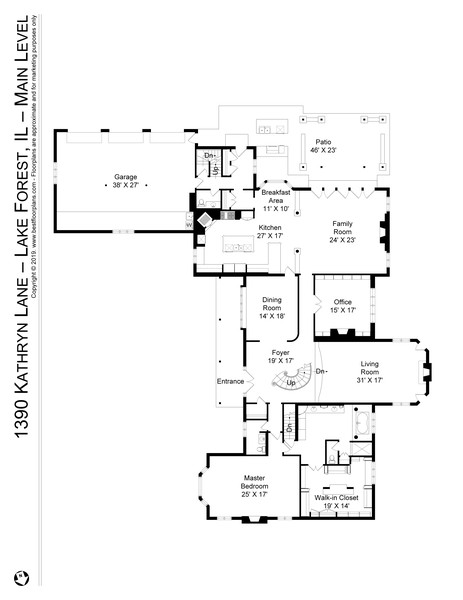 Real Estate Photography - 1390 Kathryn Ln, Lake Forest, IL, 60045 - Main Level Floor Plan