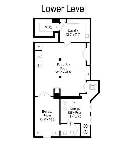 Real Estate Photography - 339 N Deere Park Dr W, Highland Park, IL, 60035 - Lower Level Floor Plan