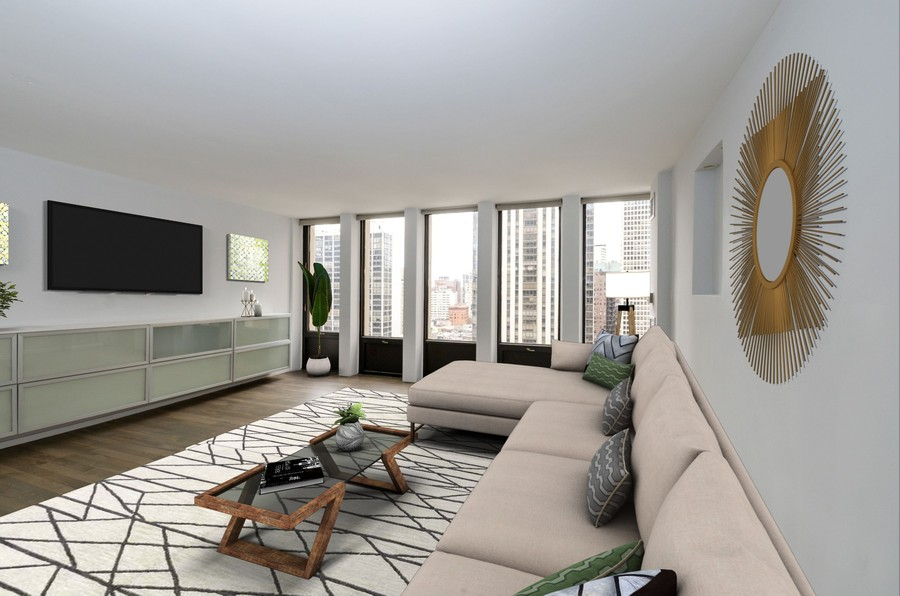 Real Estate Photography - 100 E Walton St, #18A, Chicago, IL, 60611 - Living Room - virtually staged