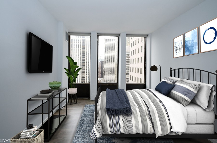 Real Estate Photography - 100 E Walton St, #18A, Chicago, IL, 60611 - Bedroom - virtually staged