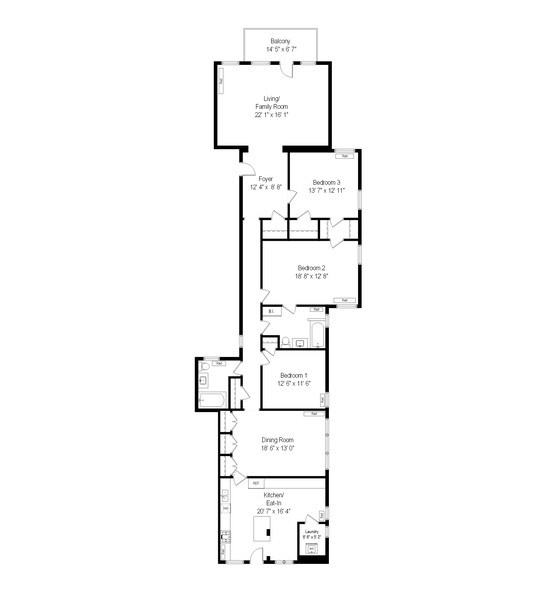 Real Estate Photography - 5483 S Hyde Park, Apt 3 N, Chicago, IL, 60615 - Floor Plan
