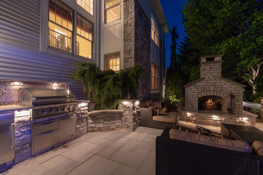 Real Estate Photography - 2200 Fielding, Glenview, IL, 60026 - Exterior Kitchen with built-in Grill