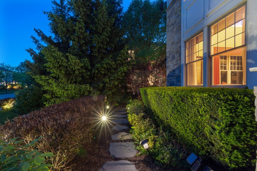 Real Estate Photography - 2200 Fielding, Glenview, IL, 60026 - Lighted stone paved pathway