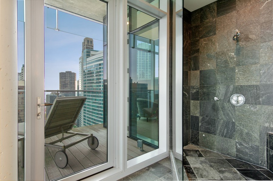 Real Estate Photography - 600 N Fairbanks Ct, PH3801, Chicago, IL, 60611 - Oversized Walk-In Slate Shower