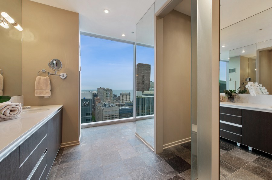 Real Estate Photography - 600 N Fairbanks Ct, PH3801, Chicago, IL, 60611 - Master Bathroom