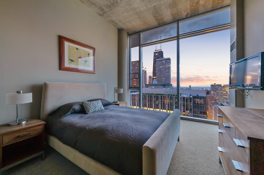 Real Estate Photography - 600 N Fairbanks Ct, PH3801, Chicago, IL, 60611 - 2nd Bedroom With Drop Dead Views of the John Hanco
