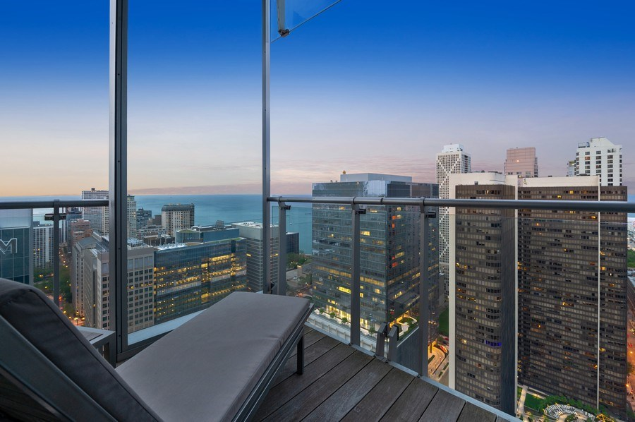 Real Estate Photography - 600 N Fairbanks Ct, PH3801, Chicago, IL, 60611 - Enviable Lake Views from the Master Suite's Privat