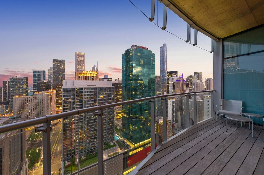 Real Estate Photography - 600 N Fairbanks Ct, PH3801, Chicago, IL, 60611 - Generous Ipe Wood Deck with Sweeping Views of the