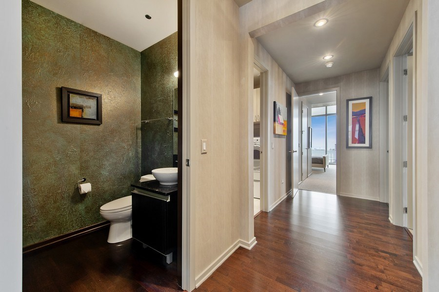 Real Estate Photography - 600 N Fairbanks Ct, PH3801, Chicago, IL, 60611 - Gallery and Powder Room with Designer Wall Treatme