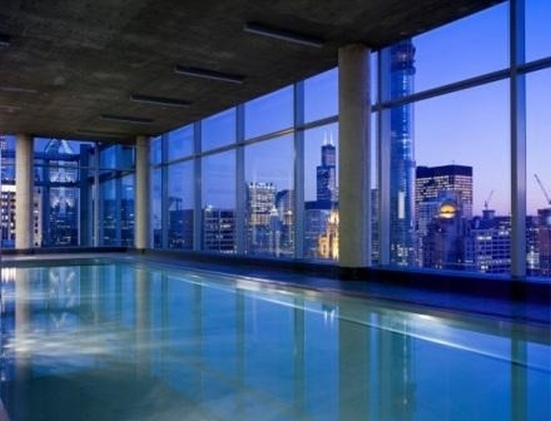 Real Estate Photography - 600 N Fairbanks Ct, PH3801, Chicago, IL, 60611 - Serene Indoor Stainless Steel Heated Lap Pool