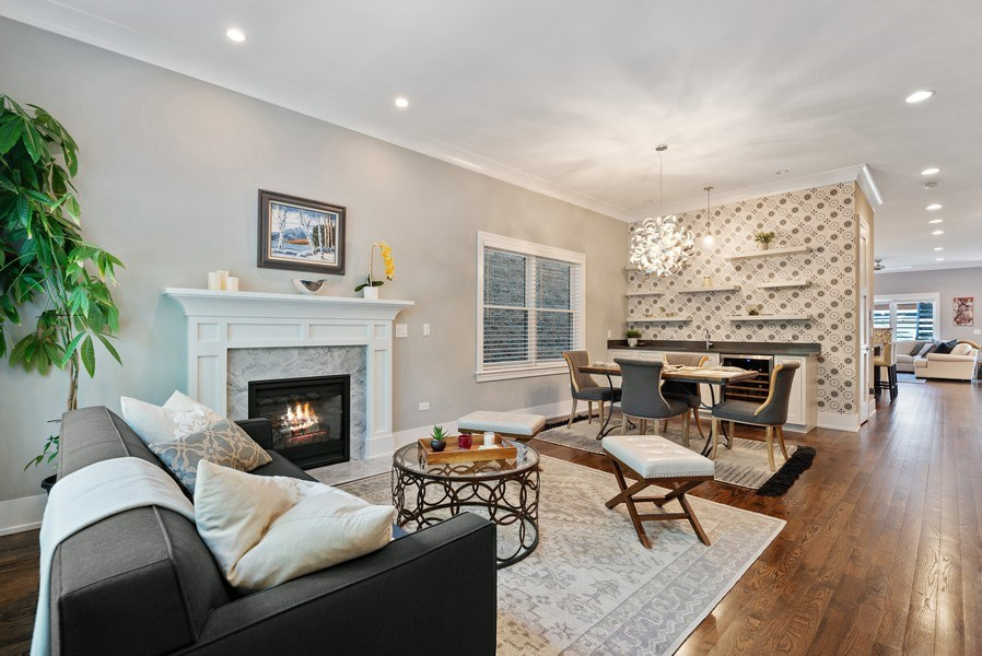 Real Estate Photography - 1734 W. Henderson St., Chicago, IL, 60657 - Living Room / Dining Room
