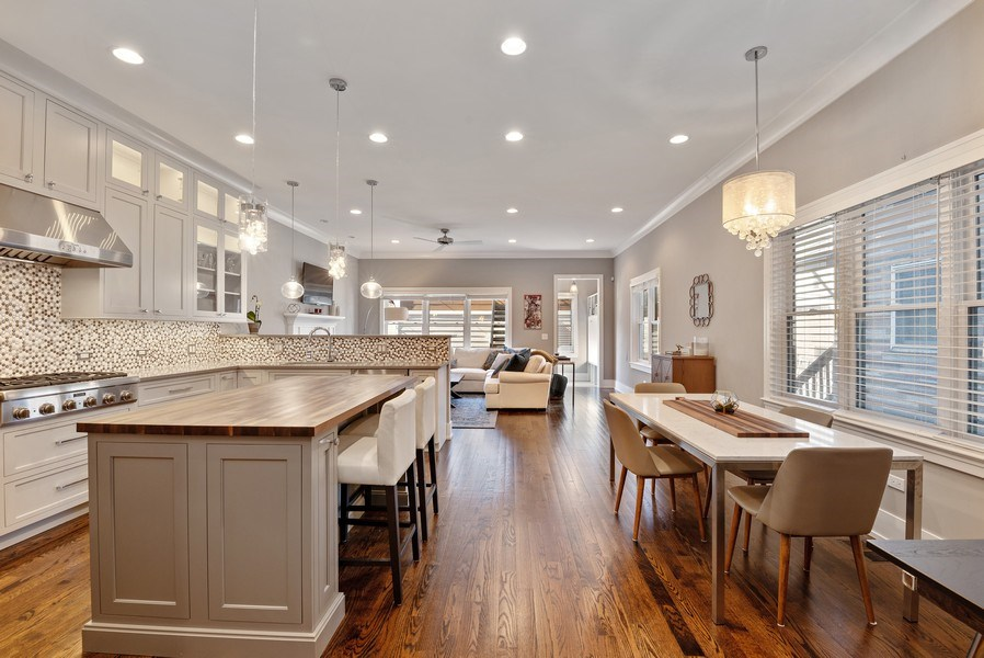 Real Estate Photography - 1734 W. Henderson St., Chicago, IL, 60657 - Family Room / Kitchen
