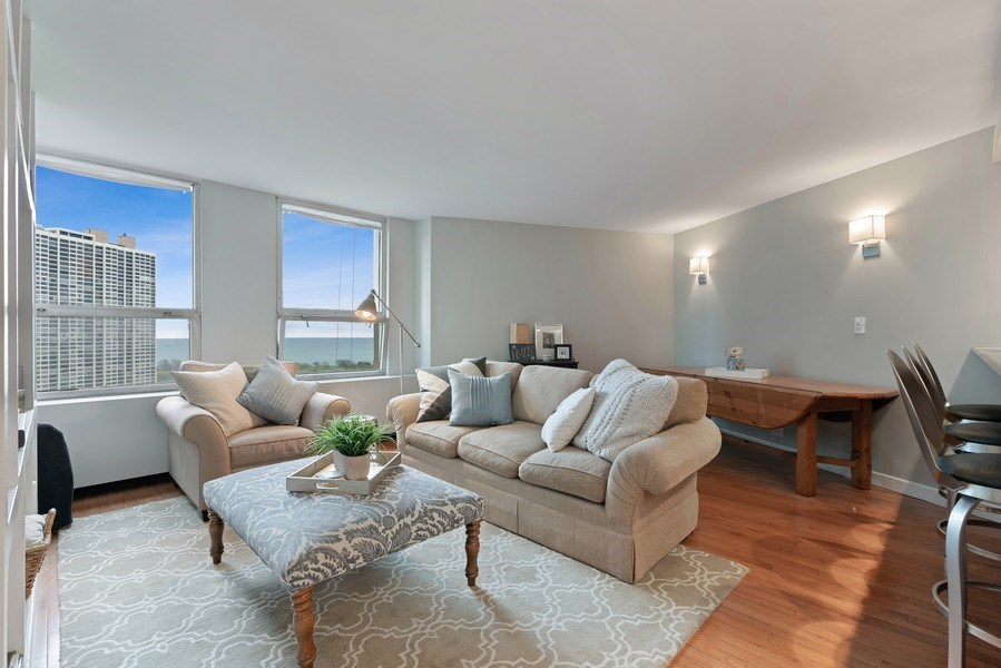 Real Estate Photography - 2626 N Lakeview Ave, Unit 1909, Chicago, IL, 60614 - Living Room