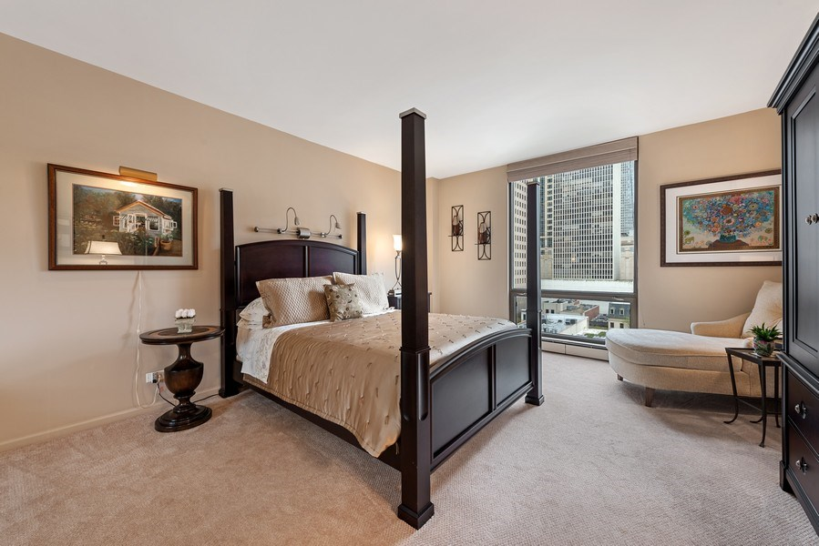Real Estate Photography - 100 E. Bellevue Place #11D, Chicago, IL, 60611 - Master Bedroom