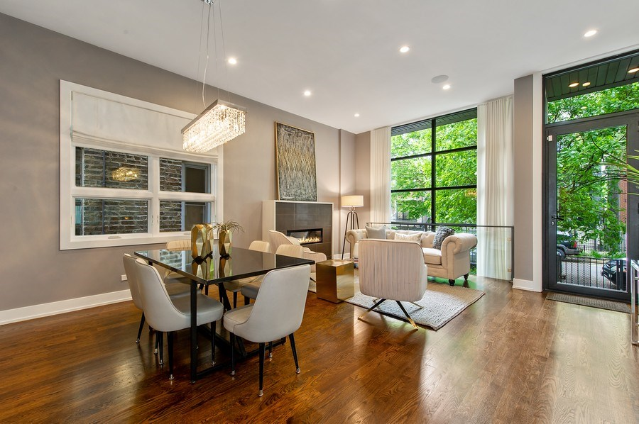 Real Estate Photography - 2033 W. Cortland, Chicago, IL, 60647 - Living Room / Dining Room