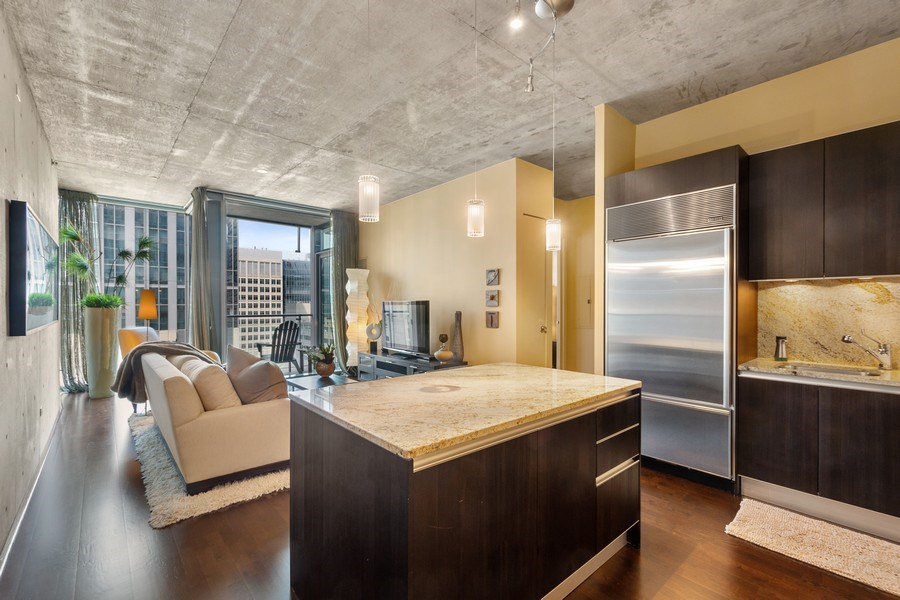 Real Estate Photography - 600 N Fairbanks Ct, Unit 1503, Chicago, IL, 60611 - Kitchen / Living Room