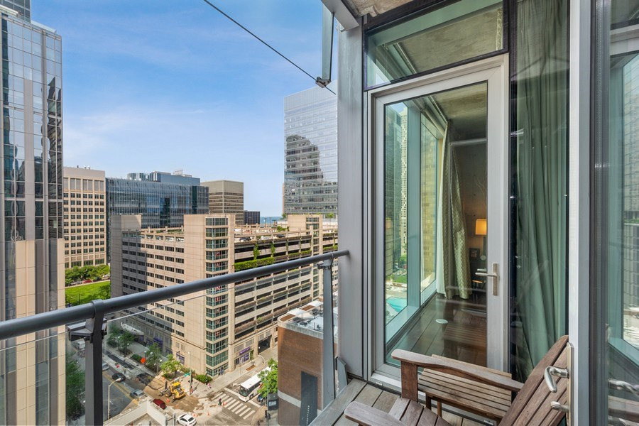 Real Estate Photography - 600 N Fairbanks Ct, Unit 1503, Chicago, IL, 60611 - Balcony