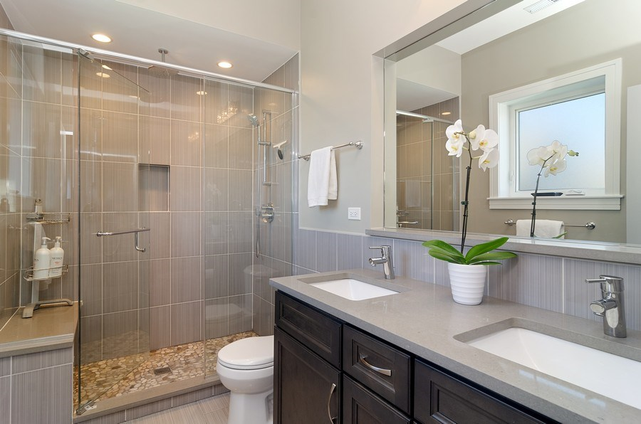 Real Estate Photography - 3104 N Kimball, Unit 2N, Chicago, IL, 60618 - Master Bathroom