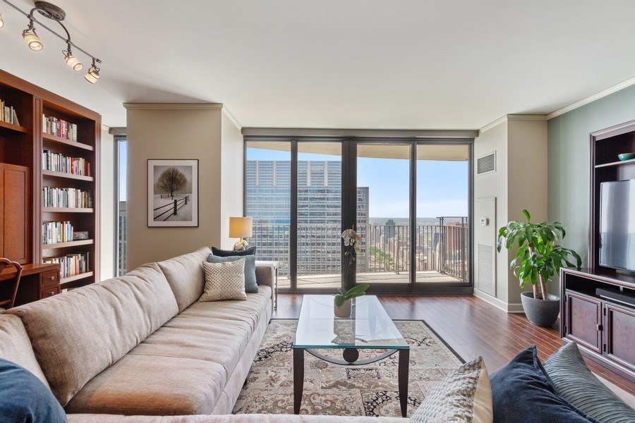 Real Estate Photography - 225 N Columbus Dr, Unit 6708, Chicago, IL, 60601 - Living Room